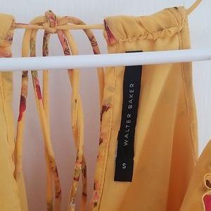 Walter Baker Tops - Walter Baker Yellow, Floral, Cold Shoulder Tank